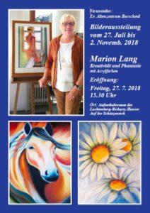 Flyer Ausstellung Acrylbilder Marion Lang