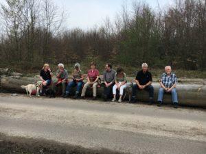 ZWAR-Wandergruppe ruht sich auf Baumstamm aus
